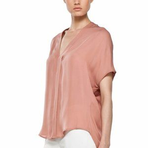 Vince Pleated Front V-Neck Copper Penny Top